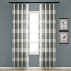 Porch & Den Luna Stripe Pattern Cotton Curtain Panel Pair with Knotted Tassels (Gray - 40 Cute Curtains, Striped Curtains, Cotton Curtains, Rod Pocket Curtains, Colorful Curtains, Drapes Curtains, Light Gray Couch, Light Blocking Curtains, Pinstriping Designs