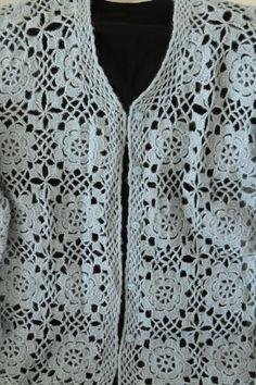MELAHAT'IN TASARIMLARI VE ELİŞLERİ Gilet Crochet, Crochet Jacket, Irish Crochet Patterns, Crochet Stitches, Crochet Books, Loose Fitting Tops, Summer Skirts, Short Tops, Cross Stitch Embroidery