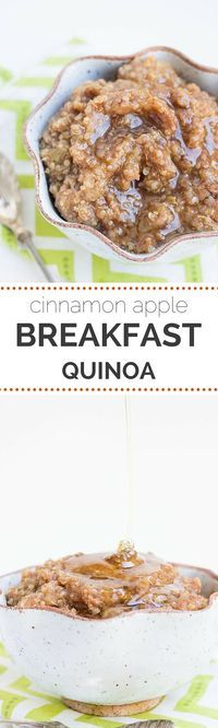 Cinnamon Apple Breakfast Quinoa - healthy & gluten-free This SEASONAL breakfast will keep you feeling full and satisfied all morning. An AMAZING & delicious quinoa breakfast recipe using cinnamon and apples (#glutenfree & #vegan)