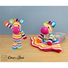 Rainbow Zebra Lovey and Amigurumi Crochet Patterns Pack by One and Two Company