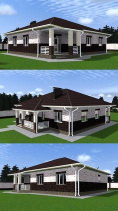 Проект дома с кухней-гостиной и тремя спальнями до 150 кв.м.