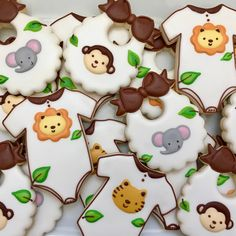 """42 Likes, 3 Comments - Christina Ramsey (@luxe.cookie) on Instagram: """"Safari baby shower cookies #decoratedcookies #cookies #sugarcookies #royalicing #madewithkitchenaid…"""""""