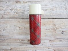 Vintage Thermos Red Tartan Thermos Rustic by GuestFromThePast