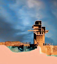 Casa del torrente 2016. Sección . (cuarta parte) Inspirada en el proyecto de Claude Nicolas Ledoux vivienda para los guardias del rio Loue, Chaux Francia 1773-79 (salinas de Chaux) A.L.Moure Strangis.