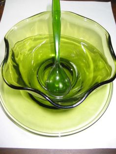 GREEN DEPRESSION GLASS 3PC FOREST GREEN SERVING SET