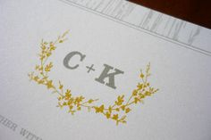 Vince wants to incorporate a monogram and have it on all our stationery: menus, programs etc...