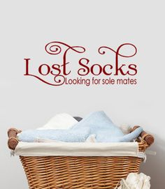 lost socks vinyl wall decal words launry decor laundry sticker