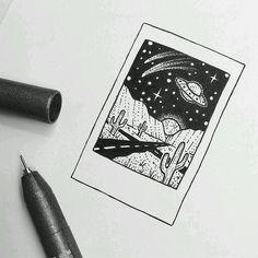 Simple little Sunset, mountain, camping doodles / pen art Stylo Art, Art Du Croquis, Pen Art, Cute Drawings, Alien Drawings, Cool Drawings Tumblr, Doodle Drawings, Pencil Drawings, Art Sketches