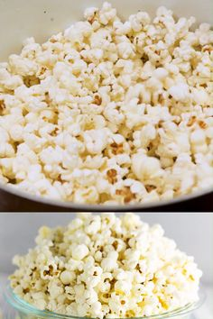 Homemade Stovetop Popcorn is so good and so easy to make that youll never want to buy the store-bought microwave stuff again. Plus, its healthy, made with better-for-you oils, and no weird additives. Also love the seasoning ideas in this recipe! Low Calorie Popcorn, Healthy Popcorn Recipes, Homemade Popcorn Recipes, Butter Popcorn, Flavored Popcorn, Sweet Popcorn, Kid Desserts, Snack Recipes, Recipes
