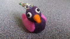 Needle felted bird with carabin hook for keyring by FeltedByRikke, $13.75