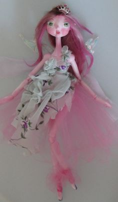 Sugar Plum Fairy, Ooak art doll, puppet style paper clay fairy doll handmade in the USA