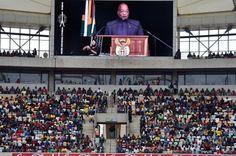 President Jacob Zuma tydens sy Menseregtedagtoespraak in Durban. Foto: Elmond Jiyane, GCIS