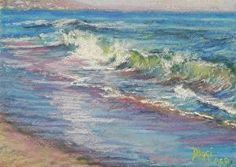 """Down by the Sea II"", 5x7"" pastel seascape painting near Malibu, California, by Daggi Wallace, $75 unframed www.daggistudio.com"