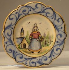 Quimper Plate Woman w/Blue Border by Dominique Levy