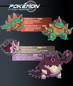 It's been a LOOOOOONG time since I've made a release like this, but it's that time again! The first line here is a pure Fire type, based on the Stegosaurus. I like that Firgus and Stegrogus have a ...