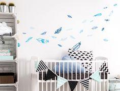 Farbige Wandsticker Federn In Blau Für Jungen   25 Stück