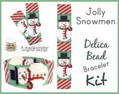 Jolly Snowmen Bracelet Delica Seed Bead Peyote Pattern or KIT DIY Christmas
