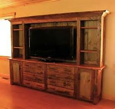 Rustic entertainment center, barn wood furniture @ pin your home pallet fur Pallet Furniture, Rustic Furniture, Amish Furniture, House Furniture, Entertainment Center Wall Unit, Entertainment System, Muebles Living, Rustic Cabinets, Rustic Sideboard