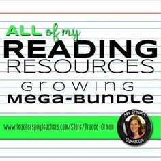 All of my reading resources (for literature and nonfiction) are included in this mega growing bundle! You can use these activities with ANY book, story, or nonfiction text. Reading Resources, Reading Strategies, School Resources, Reading Activities, Teacher Resources, Graphic Organizer For Reading, Help Teaching, Teaching Ideas, Middle School English