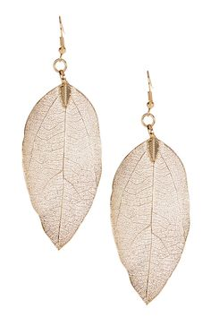 Gold Dipped Leaf Earrings
