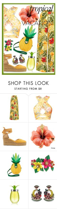 """tropical vacation"" by lovedreamfashion ❤ liked on Polyvore featuring Miguelina, Castañer, Betsey Johnson and Elizabeth Cole"