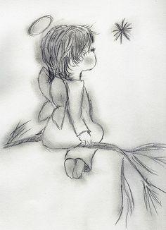 Angel Drawing - Angel Wishing On A Star by Sonya Chalmers