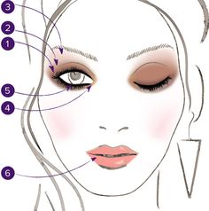 1. Sweep Hustle across entire lid.  2. Blend Toasted from mid-lid to halfway above the crease.  3. Add a touch of Sin beneath the eyebrow to highlight the brow bone.  4. Brighten the inner corner of eye with Half Baked.