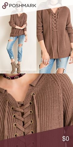 Front Lace Up Knit Sweater- MOCHA Solid long sleeve purl knit sweater featuring front lace up and curled neckline trim. Non sheer. Unlined. Woven. 100% Acrylic. Imported. Sweaters