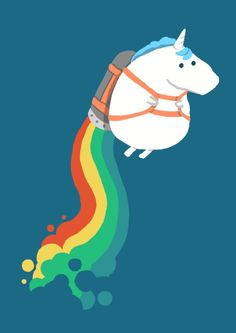 Unicorn on Rainbow Jetpack Art Print