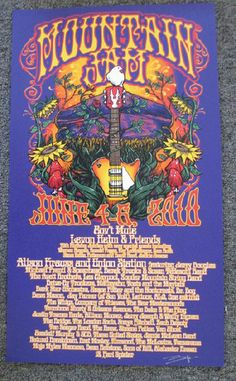 Original silkscreen concert poster for Mountain Jam in Hunter, NY in 2010. 14 x 24 inches on card stock. Signed by the artist by Richard Biffle.