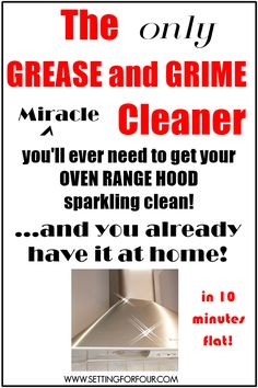 An easy and fast cleaning method to get your oven range hood sparkling clean with something you already have at home! Cleaning Grease, Household Cleaning Tips, Homemade Cleaning Products, Oven Cleaning, Natural Cleaning Products, Cleaning Hacks, Oven Range Hood, Oven Hood, Cleaners Homemade