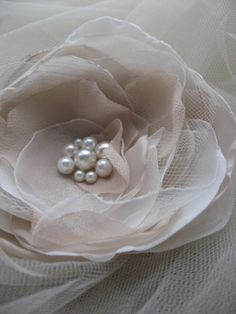 Brooch and Hair pin (2 in 1)Cream, Ivory, Light Beige, lace, tulle, galss pearls Rose Flower, fascinator. $25.00, via Etsy.