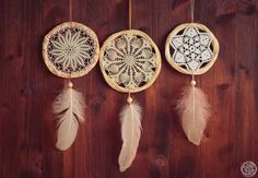 Wholesale 3 Crochet Dream Catchers  Boho Home Decor by bohonest #dream #catcher #boho #nest #nature #boho #nest #handmade #diy