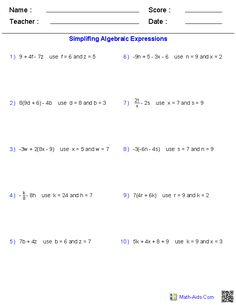 Evaluating Two Variables Worksheets