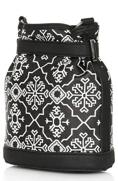 Topshop Print Mini Faux Leather Bucket Bag available at #Nordstrom