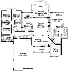 Home Plans HOMEPW15087 - 3,297 Square Feet, 5 Bedroom 3 Bathroom  Traditional Home with 3 Garage Bays | Dream Home Floor Plans | Pinterest |  Square feet, ...