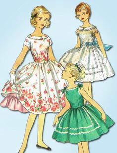 1950s Vintage Little Girl's Dress 1956 Simplicity Sewing Pattern 1560 Sz 10 #Simplicity