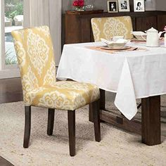 Chair / Dining Chair, Transitional Yellow and Cream Damask Parson Chairs K6805-A751 in Polyester and Wood, Set of 2