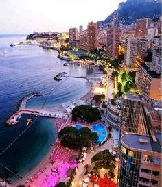 City lights in Monte Carlo, Monaco - Travel inspiration and places to visit - Places Around The World, Oh The Places You'll Go, Travel Around The World, Places To Travel, Travel Destinations, Places To Visit, Holiday Destinations, Monte Carlo Monaco, Dream Vacations