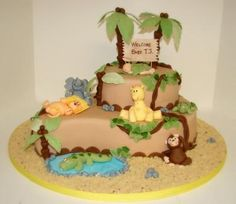 Baby Jungle Cake: Baby Jungle Cake  We started out with a rich chocolate cake with a  Kahlua sugar wash filled it with chocolate Bavarian filling, iced it in chocolate hazelnut