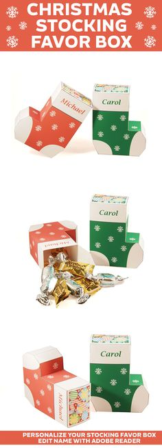 Create a Christmas Stocking favor box. Great for getting in that holiday spirite