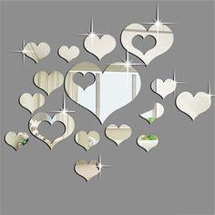 ardisle 16 pezzi a forma di cuore per piastrelle specchio adesivo da parete art