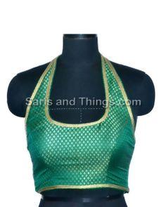 Green HT Brocade Readymade Partywear Saree Blouse X-108 | Saris and Things