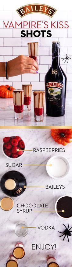Halloween is approaching and we've got the perfect drink recipe for your party! Trick and treat your friends with these Baileys vampire themed shots. Purée 1 cup raspberries and 2 tablespoons sugar in a blender until smooth. In a shaker with ice, mix 1 oz Halloween Shots, Halloween Cocktails, Halloween Food For Party, Holiday Drinks, Party Drinks, Cocktail Drinks, Fun Drinks, Halloween Treats, Yummy Drinks