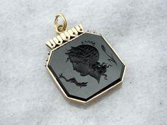 Fantastic Black Onyx Intaglio Pendant Roman God or by MSJewelers