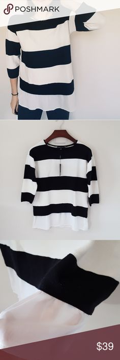 New! Cable & Gauge | striped sweater with chiffon New with tags! Cable and Gauge striped sweater, size medium, loose fit. Cgiffon layer at bottom. Perfect with leggings! Bundle up! Offers always welcome:) Cable & Gauge Sweaters