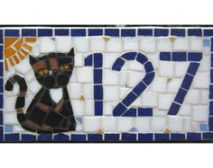 Mosaic House Number/Sign/plaque/street sign cat by lilymaycrafts67