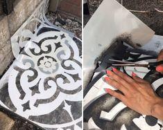 How To Stencil Your Patio Flags Concrete Flags, Concrete Slab Patio, Stencil Concrete, Patio Flooring, Painting Concrete, Floor Painting, Back Garden Landscaping, Garden Gazebo, Backyard Patio Designs