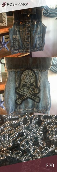 Ombré blue jean vest Very cute like brand new. Ombré blue jean vest. Skull gem embellishments on the back only. Tinseltown Jackets & Coats Vests