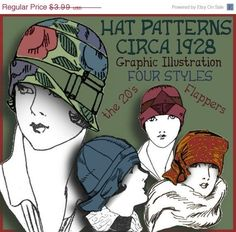 Make 1920s Cloche Hats  Patterns and Graphic Instructions to make 4 different Hats from 1928  (You will receive a download link to access this PDF e-pattern IMMEDIATELY from etsy after payment is made!)  *A Stylish Hat made of Cretonne (unpolished chintz) (This hats pattern uses a pre-made hat form) An actual print-out pattern is now included to make this Cloche hat! *A Jaunty Cloche made of Felt *A Clever Cap made of Ribbons *And a Chic Brocade Turban  These vintage patterns were designed…